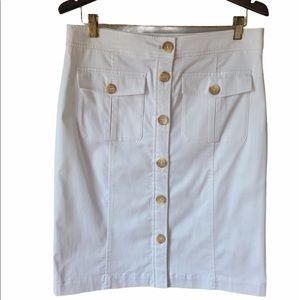 Willi Smith White Skirt with Button Up Front